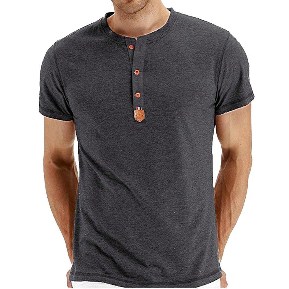 Cotton Short Sleeve T-Shirt Mens Summer Casual Slim Fit Henley Shirt Top Blouse Beautyfine
