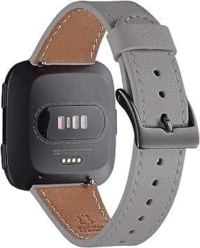 Image of WFEAGL Compatible con la Correa Fitbit Versa 2,Correa de Repuesto de Banda de Cuero de Grano Superior para Fitbit Versa/Fitbit Versa 2/Versa Lite/Versa SE Fitness Smart Watch(Gris/Negro)