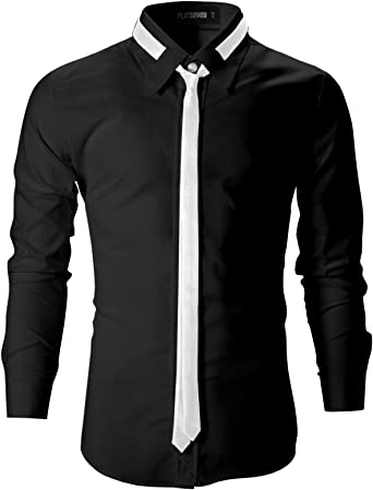 FLATSEVEN Camisas Slim Fit De Vestir Hombre con Corbatas (SH107) Negro, XXL: Amazon.es: Ropa y accesorios