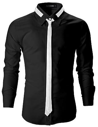 3b937b11a69b2 FLATSEVEN Camisas Slim Fit De Vestir Elegantes Entalladas Hombre   Amazon.es  Ropa y accesorios