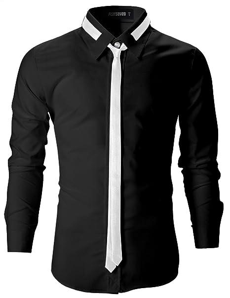41cd05e840 FLATSEVEN Camisas Slim Fit De Vestir Elegantes Entalladas Hombre   Amazon.es  Ropa y accesorios