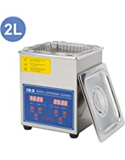 CO-Z 2L Professional Ultrasonic Cleaner with Digital Timer&Heater for Jewelry Glasses Watch Dentures Small Parts Circuit Board Dental Instrument, Industrial Commercial Ultrasound Cleaning Machine(110)