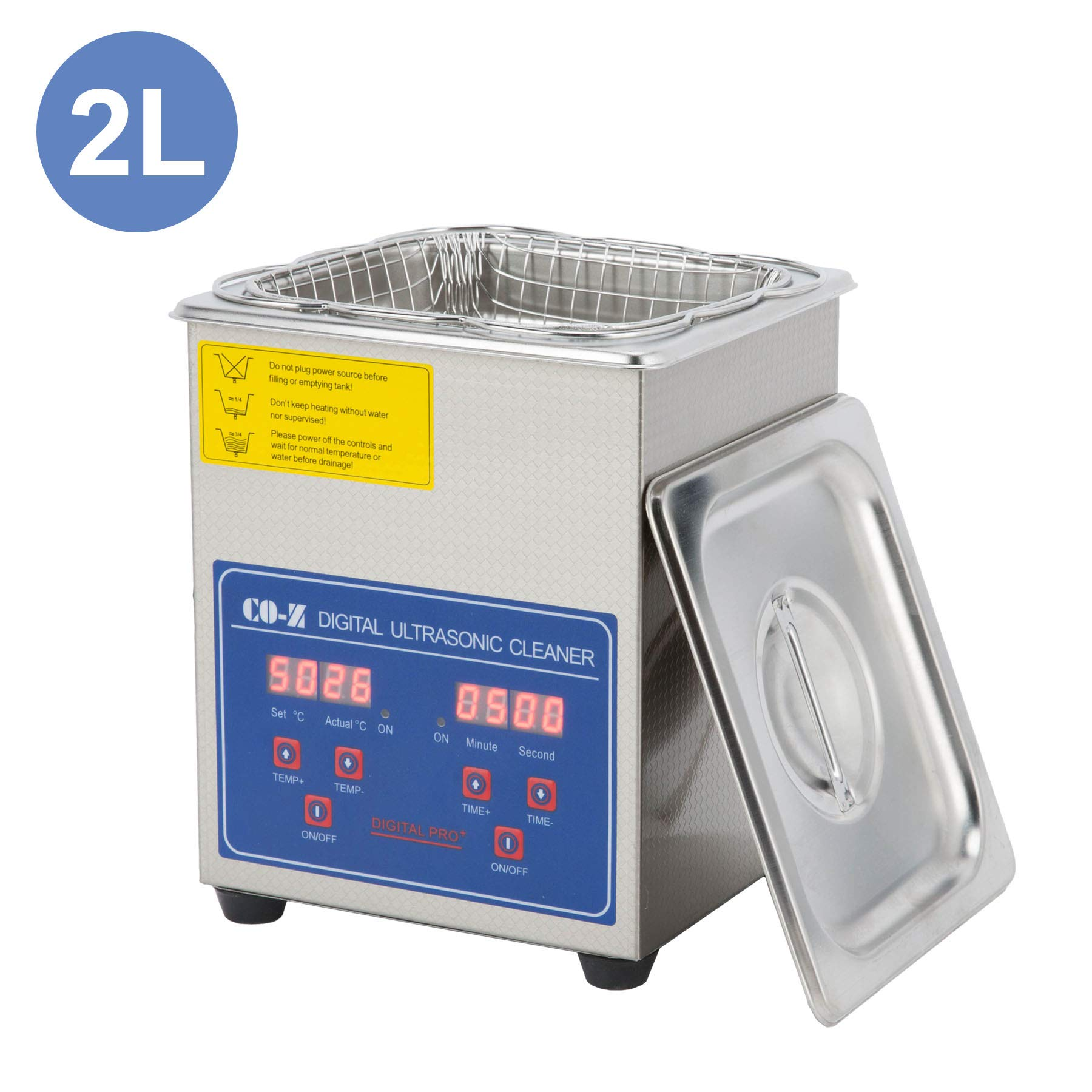 CO-Z 2L Professional Ultrasonic Cleaner with Digital Timer&Heater for Jewelry Glasses Watch Dentures Small Parts Circuit Board Dental Instrument, Industrial Commercial Ultrasound Cleaning Machine by CO-Z