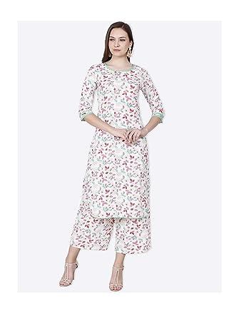a6596e222ae72 Hiral Designer mall Women Off-White Floral Print ... - Amazon.com