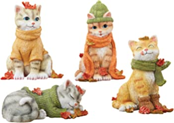 Collections Etc Fall Cat Sitters - Set of 4