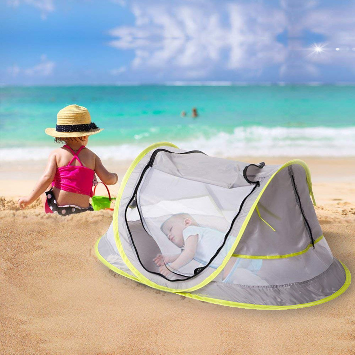 Micoo Baby Travel Tent, Portable Beach Pop Up Tent, Large Baby Travel Bed,UPF 50+ Sun Travel Cribs Bed, Mosquito Net and Sunshade, Lightweight Outdoor Travel Baby Crib Bed for Infant and Babies by Micoo (Image #7)