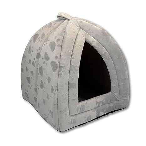 Generic Lujo Mascota Iglú Perro Gato suave cómoda Casa Cama Iglú (Color Gris)