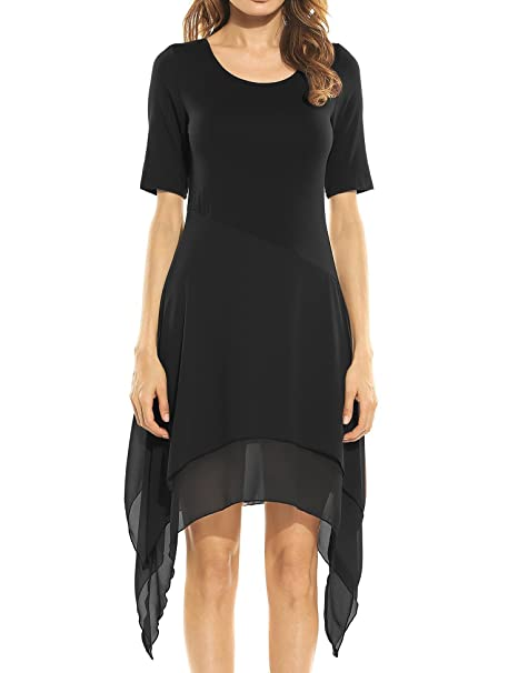 Lantusi Black T Shirt Dress T Shirt Dress Short Sleeve Plus Size T