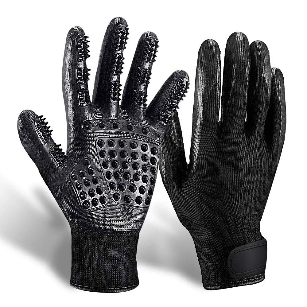 DELOMO Pet Deshedding Glove, Left & Right-Gentle Grooming Gloves, for Dogs,Cats & Horses, Efficient Pet Hair Remover Glove, Hair Glove with Enhanced Five Finger Design by DELOMO (Image #1)