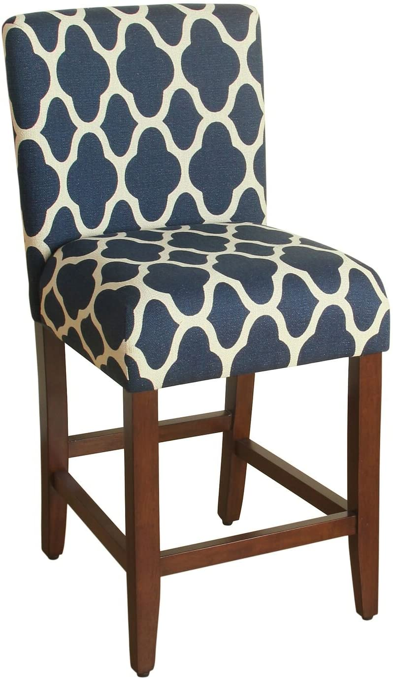 HomePop Upholstered Counter Height Barstool, 24-inch, Navy and Cream Geometric