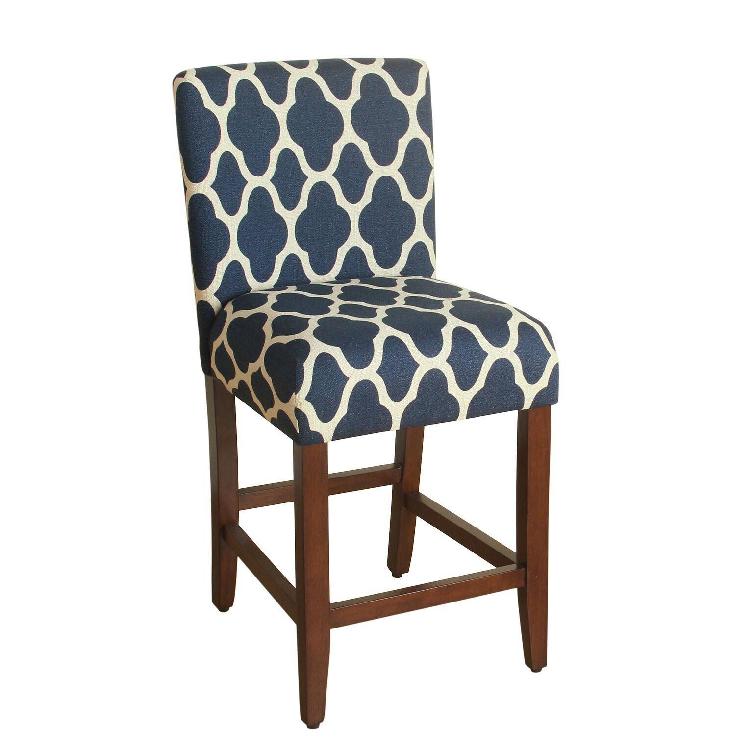 HomePop Upholstered Barstool, 24-inch, Navy and Cream Geometric