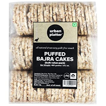 Urban Platter Puffed Pearl Millet (Bajra) Cakes, 400g [All Natural and Savoury