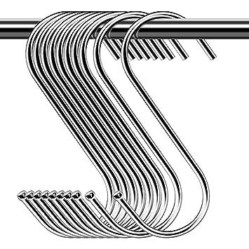S-Form Haken 20 St/ück 9cm S Form Haken zum Aufh/ängen Metall Kleiderb/ügel f/ür Bad K/üche B/üro Schlafzimmer 20 St/ück Edelstahl S Haken /…