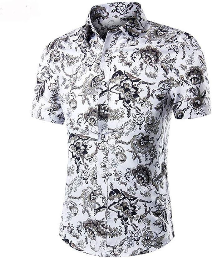Belingeya-cl Camisa de Vestir Slim fit para Hombre Camisa Hawaiana Ocasional de Manga Corta con Botones de la Flor de los Hombres del Verano M - 3XL Moda (Color : Blanco, tamaño :