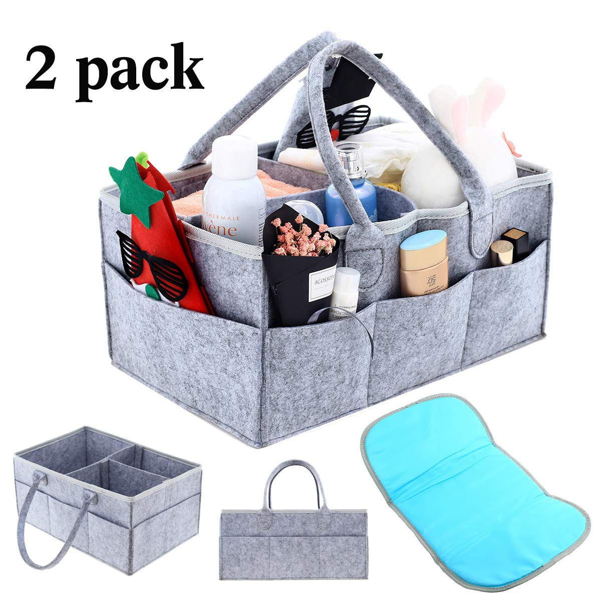 DeELF 2-Pack Large Baby Diaper Caddy Organizers with a Changing Pad, Closable and Washable Diaper Storage Basket for Changing Table and Car, Gray Color by DeELF