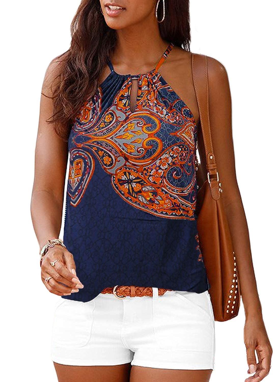 56973c15269aaa Astylish Women's Summer Floral Print Sleeveless Spaghetti Strap Cami Tank  Tops at Amazon Women's Clothing store: