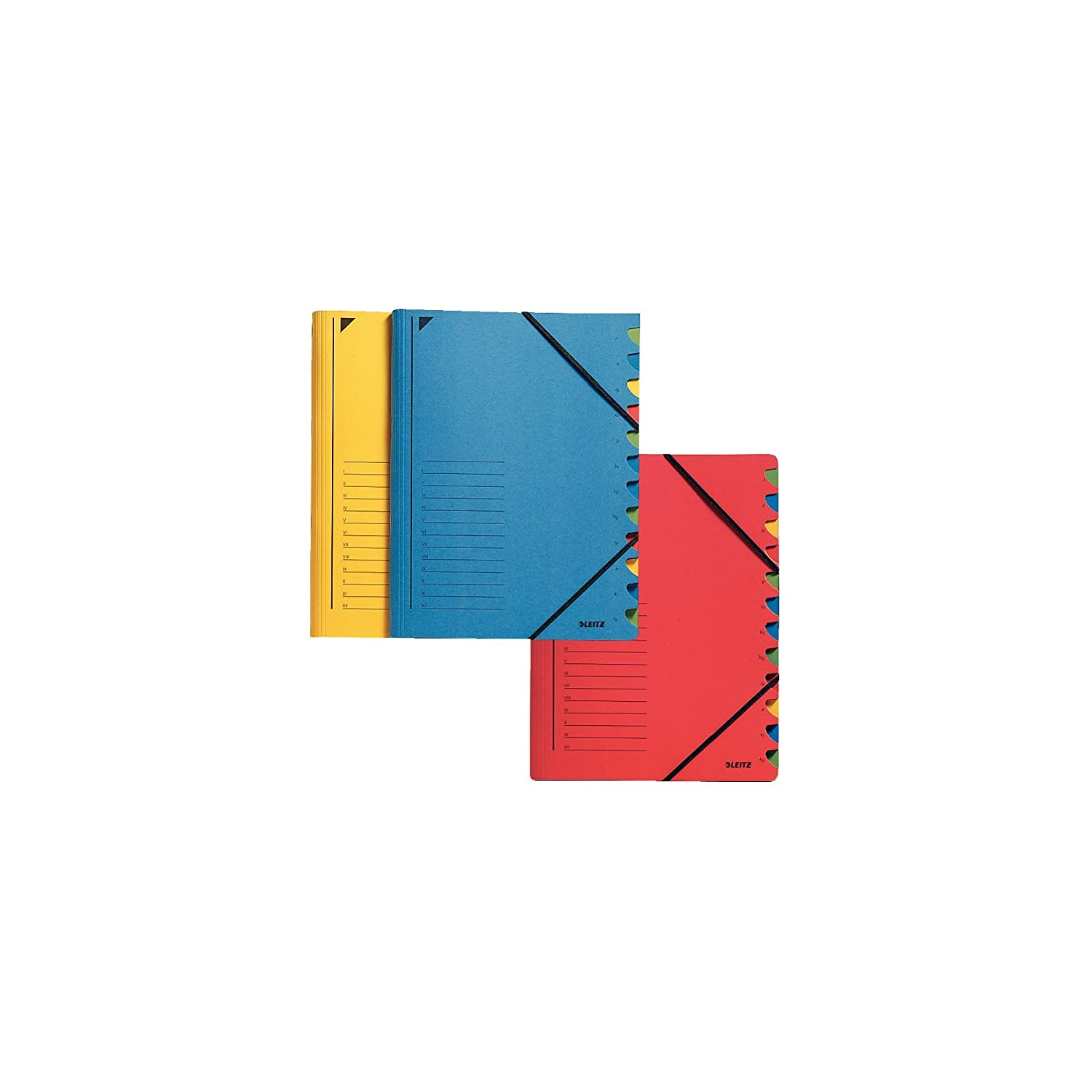 Esselte Leitz 39120015 Index File 12 Sections Coloured Chipboard Yellow