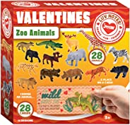 JOYIN 28 Count Cards, Valentine's Greeting Cards for Kids with Zoo Animals Valentine Classroom Exchange Party Favor Toy
