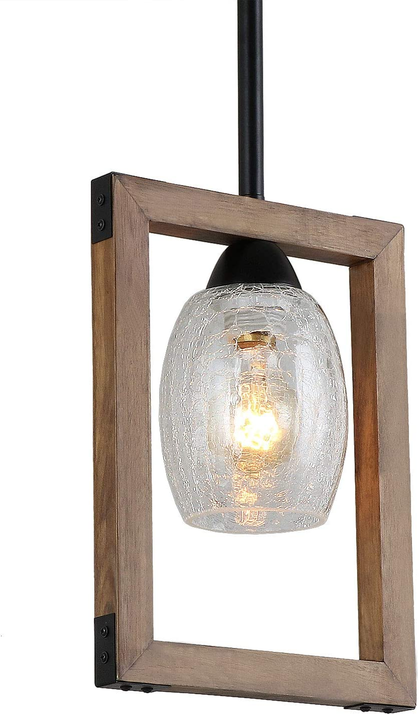 Giluta Square Pendant Light Wood Chandelier Kitchen Island Pendant Light Rustic Industrial Hanging Light Fixture for Dining Room Farmhouse Foyer with Crack Glass Shade P0019