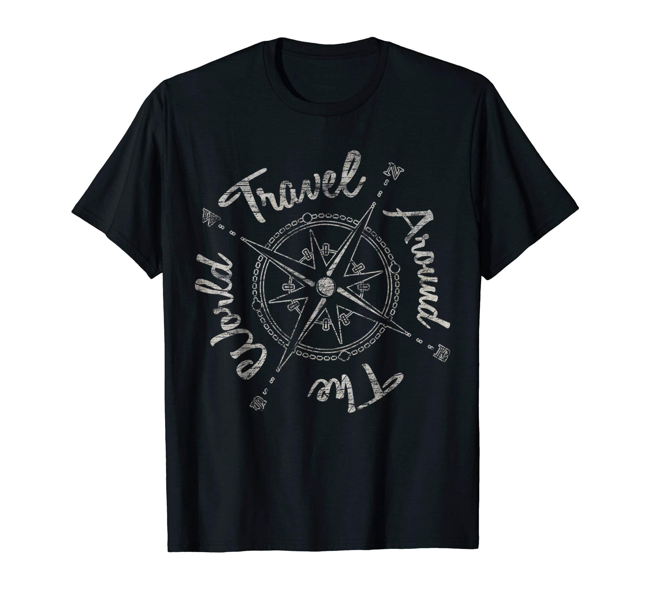 TRAVEL AROUND THE WORLD T Shirt   Retro Backpacker Tee Gift