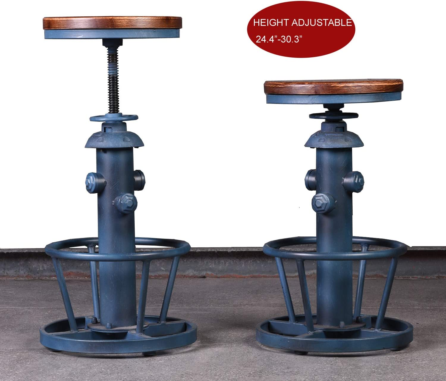 Topower Aged Steampunk Deco Industrial Round Bottom Adjustable Height Cafe Coffee Retro Vintage Fire Hydrant Design Pub Kitchen Counter Bar Stool