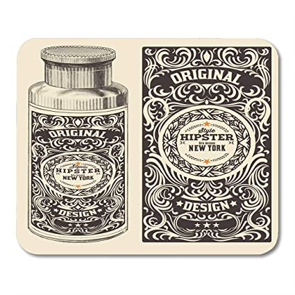 Boszina Mouse Pads Label Vintage Retro Design With Bottle Medicine Premium Pad For Notebooks