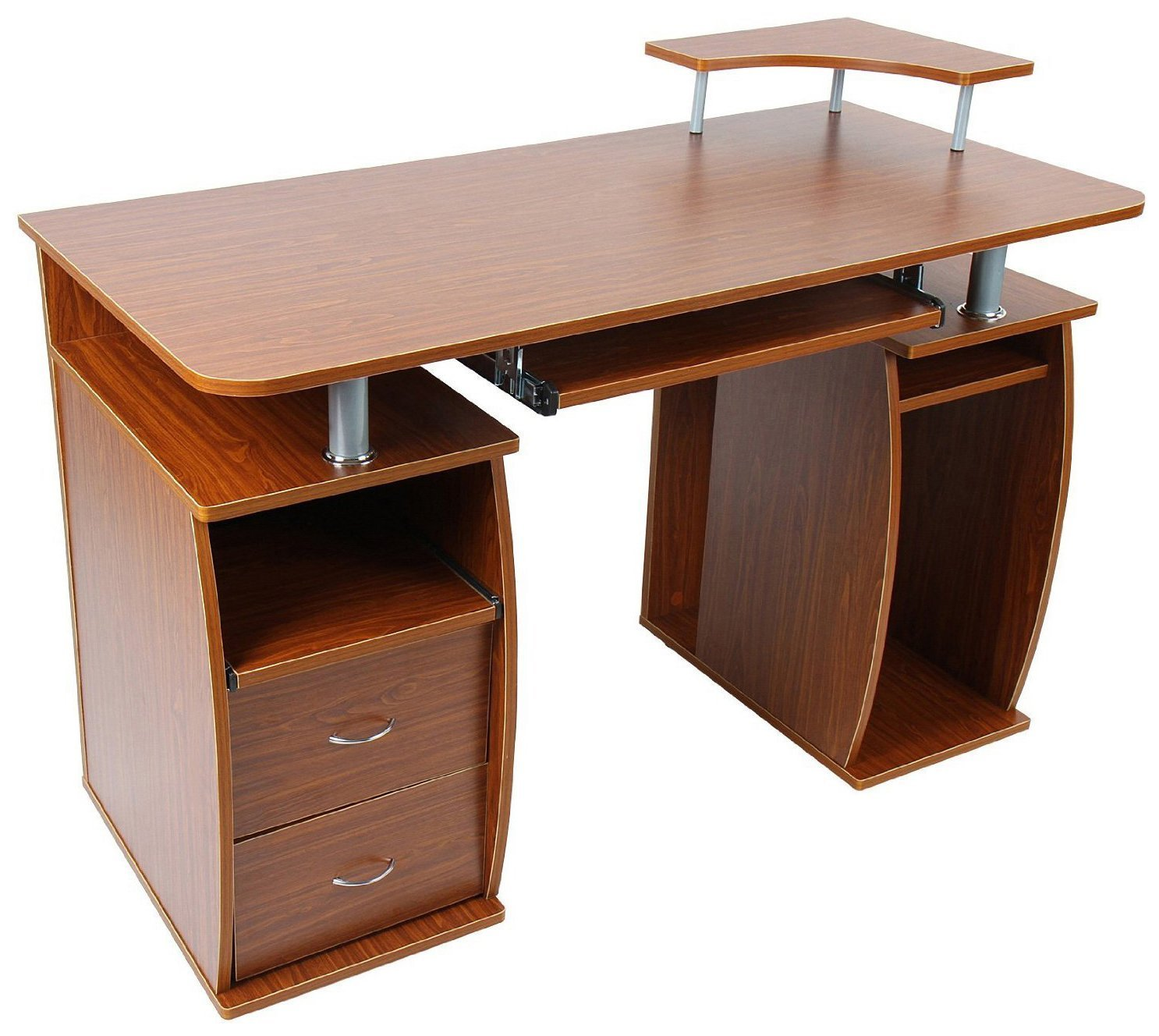Incredible Homcom 48 Multi Level Computer Desk With Shelves Natural Wood Brown Download Free Architecture Designs Scobabritishbridgeorg
