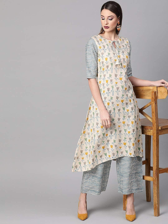 Lady Dwiza - Tunica di design indiano pronta da indossare Palazzo o pantaloni Kurta Kurti set da donna Beige E Blu.