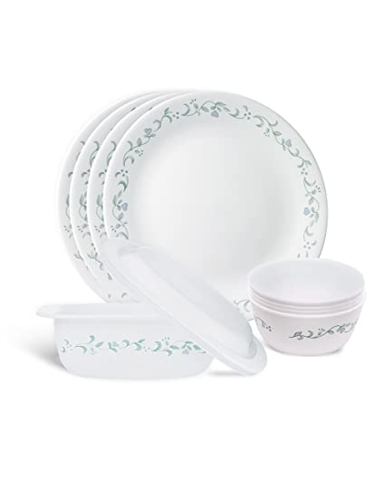 Corelle Vitrelle Glass Country Cottage Gift Serve and Snack Set, 9-Pieces, White/Green