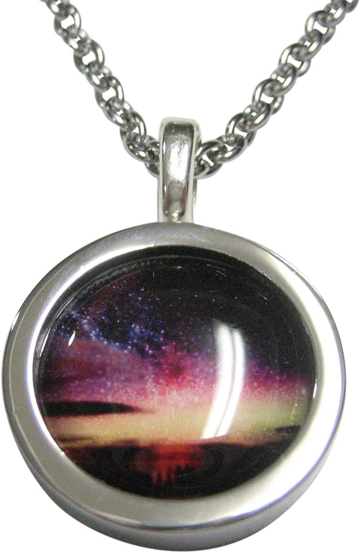 Kiola Designs Bordered Colorful Deep Space Gas Nebula Pendant Necklace