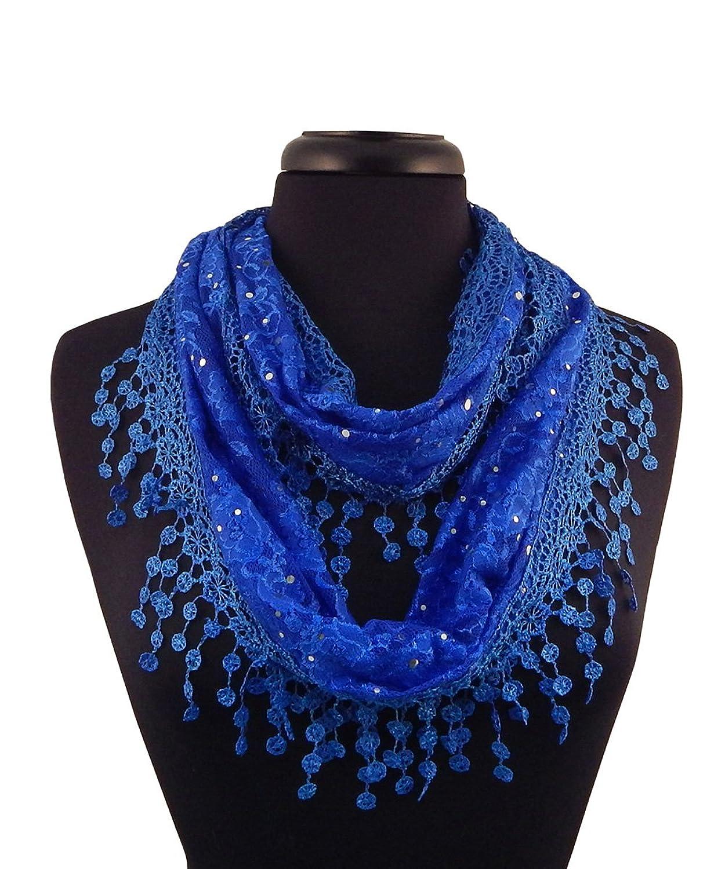 Alabama Girl Fashion Lacey Glitter Scarf in Blue