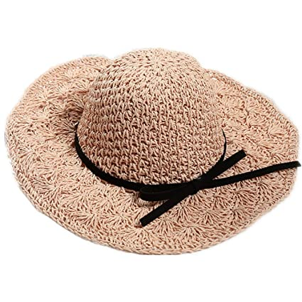 607c0a33 Lady Straw Hat Women Straw Sun Hat Foldable Wide Brim Beach Hats Summer UV  Protection Parent