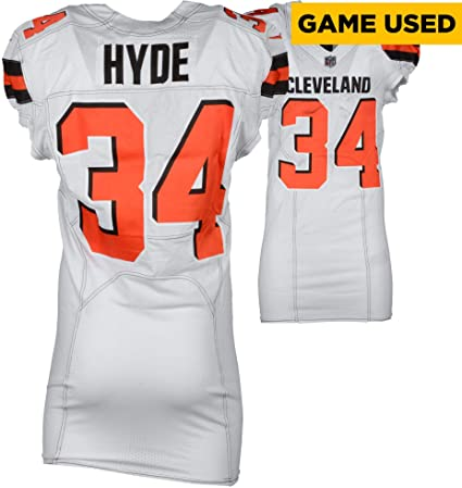 reputable site 01f6d 99da8 Carlos Hyde Cleveland Browns Game-Used #34 White Jersey vs ...