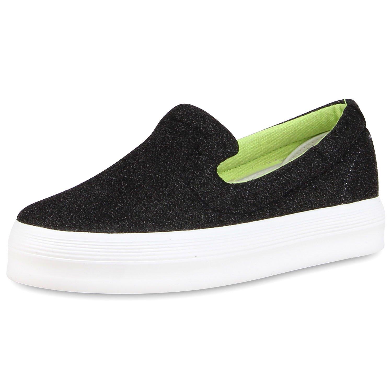 Japado Glitzer Damen Sneaker Slip-Ons mit Plateau Glitzer Japado  37 EU Schwarz Meliert 4525e5
