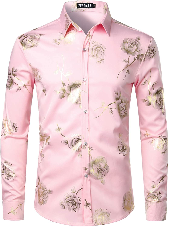 ZEROYAA Men's Nightclub Shiny Golden 3D Rose Printed Slim Fit Button Down Party Dress Shirt