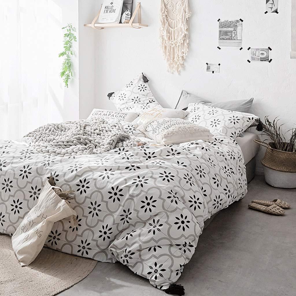Zhiling 4枚入りシートセット- 綿4ピース綿の掛け布団カバーシートシンプルな風の家の織物の寝具 (色 : Picture C, サイズ さいず : 1.5m) 1.5m Picture C B07PQ61CVB