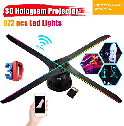 Aibecy Proyector de holograma 3D Luz de ventilador WiFi APP ...