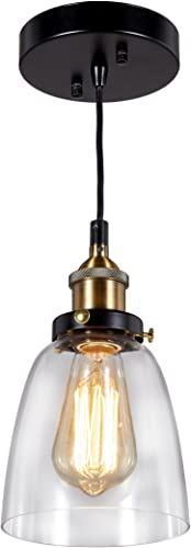 Broadway Industrial Clear Glass Lamp Vintage Light Ceiling Pendant Fixture BL-FIC D-L1 W6 X H9 Inch