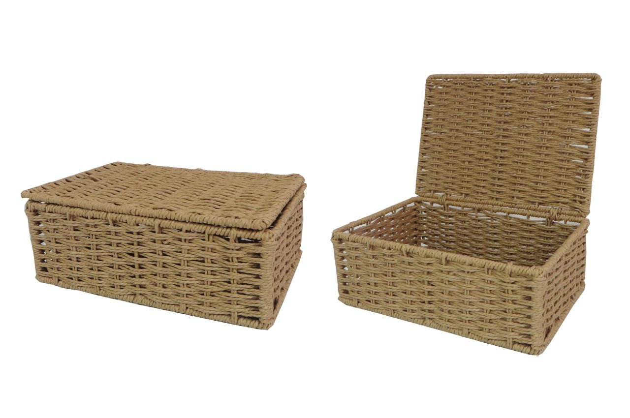 Arpan Natural Paper Rope Storage Basket Box With Lid (Small)