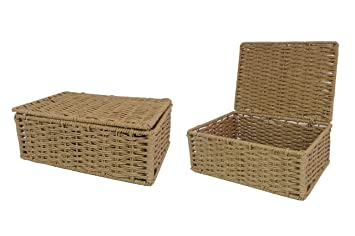 Arpan Natural Paper Rope Storage Basket Box With Lid (Small) By ARPAN