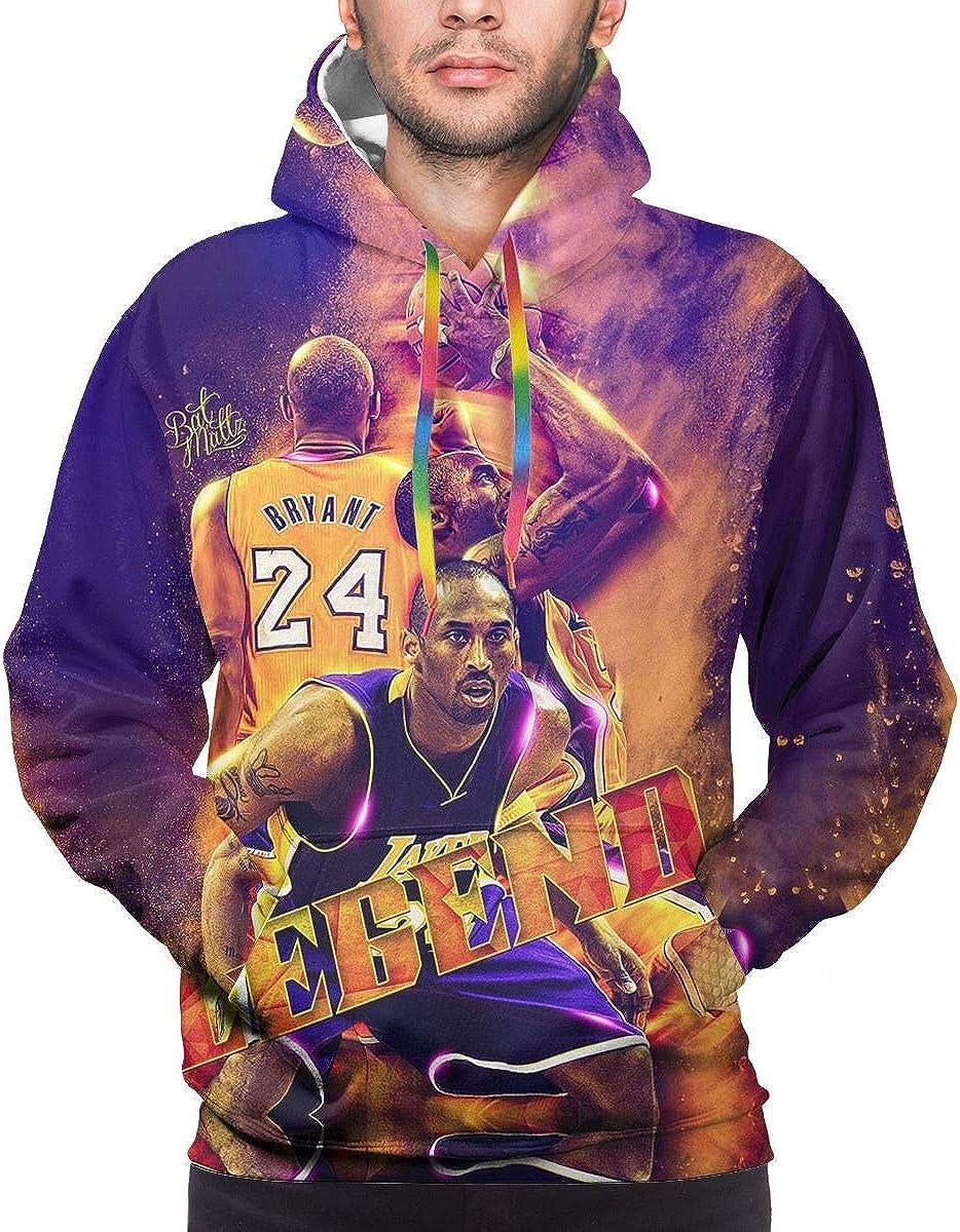 SUNERLADY 2020 Kobe-Bryant Number 24 Men's Hooded Hoodie, Kobe-Bryant Long Sleeve Pullover Sweatshirt