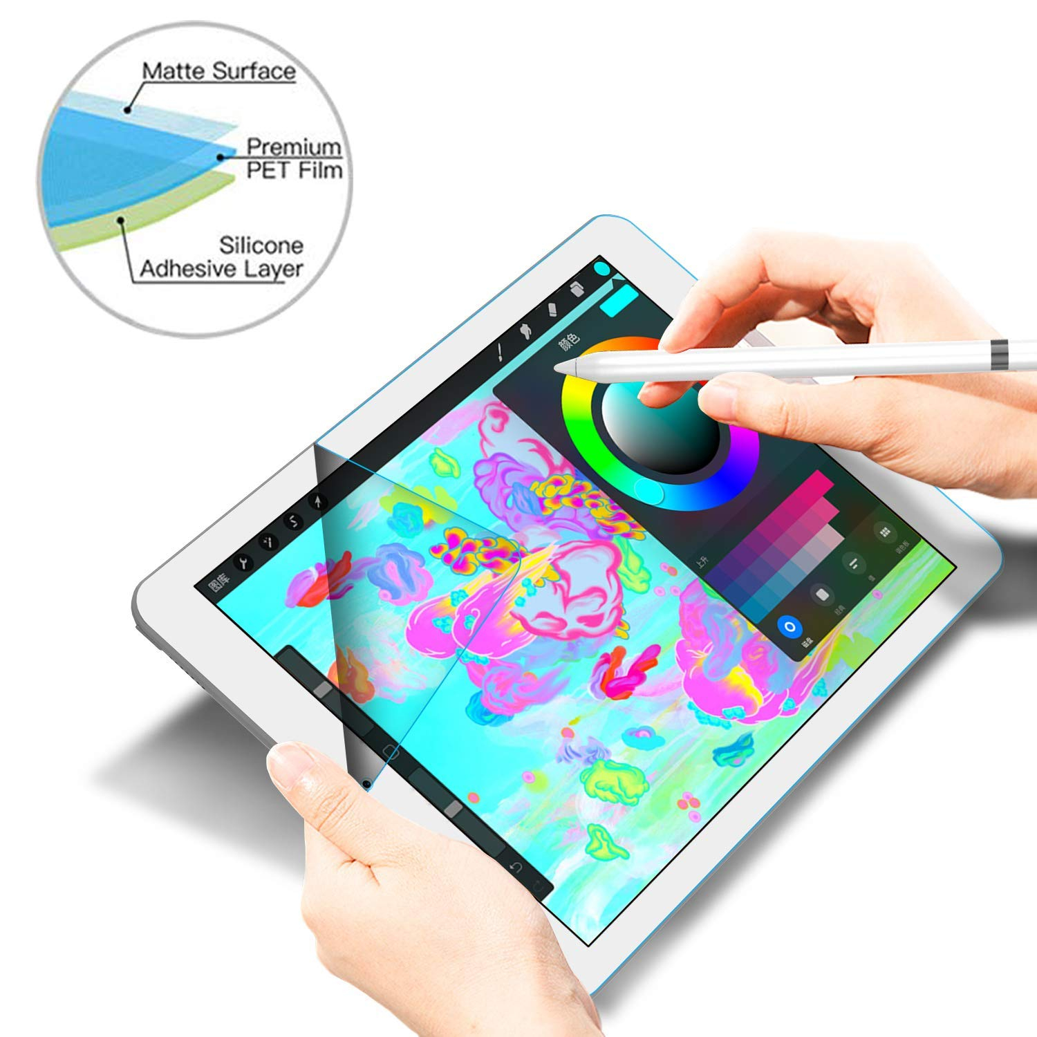 Draw and Sketch with the Apple Pencil Like on Paper Matte Screen Protector New Nillkin Write Like Paper Screen Protector Compatible With iPad Pro 12.9 Inch 2018,Write