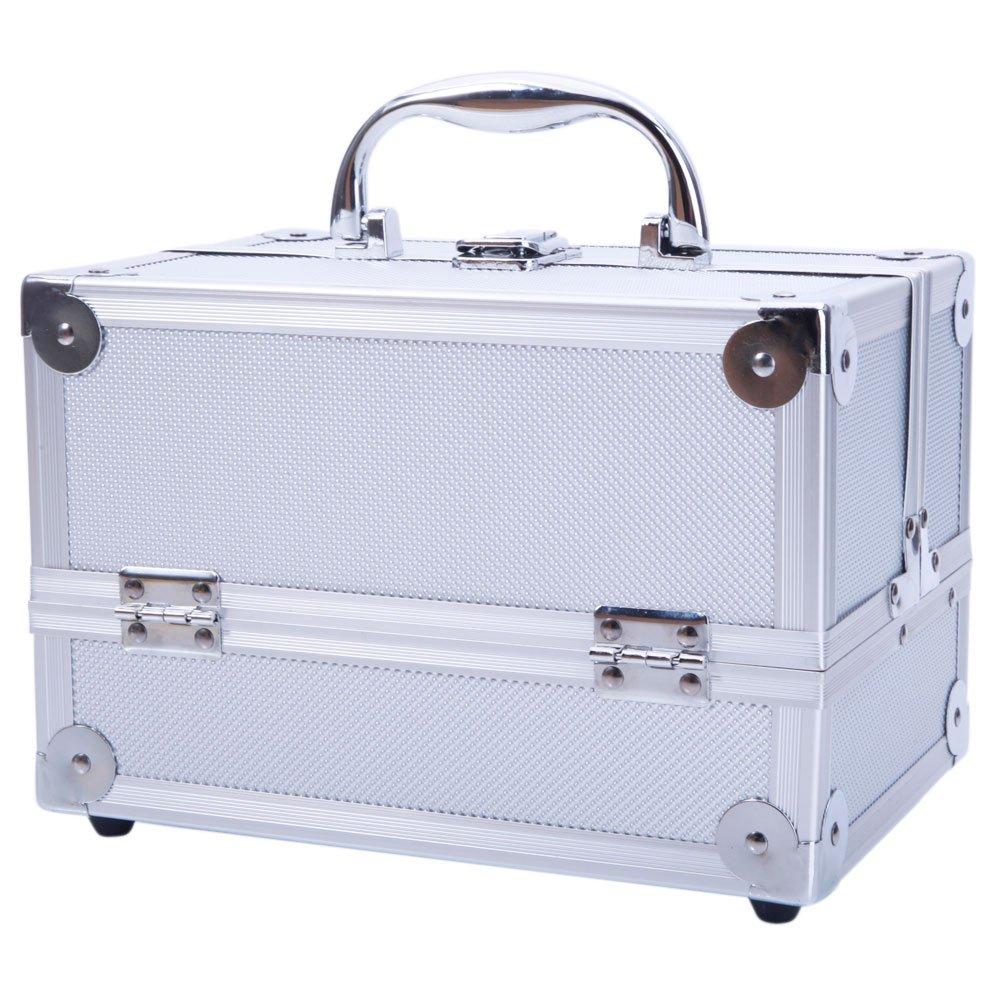 25b052dfd6de Aluminum Makeup Train Case Built In Mirror Folding Trays, Portable ...