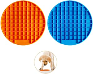 Lick Mat for Dogs - Slow Eating Dog Bowl to Slow Down Eating Puzzle Feeder for Dog and Cat with Suction Cup Slow Treat Dispensing Mat Perfect for Pet Food Treats Yogurt or Peanut Butter (Blue/Orange)