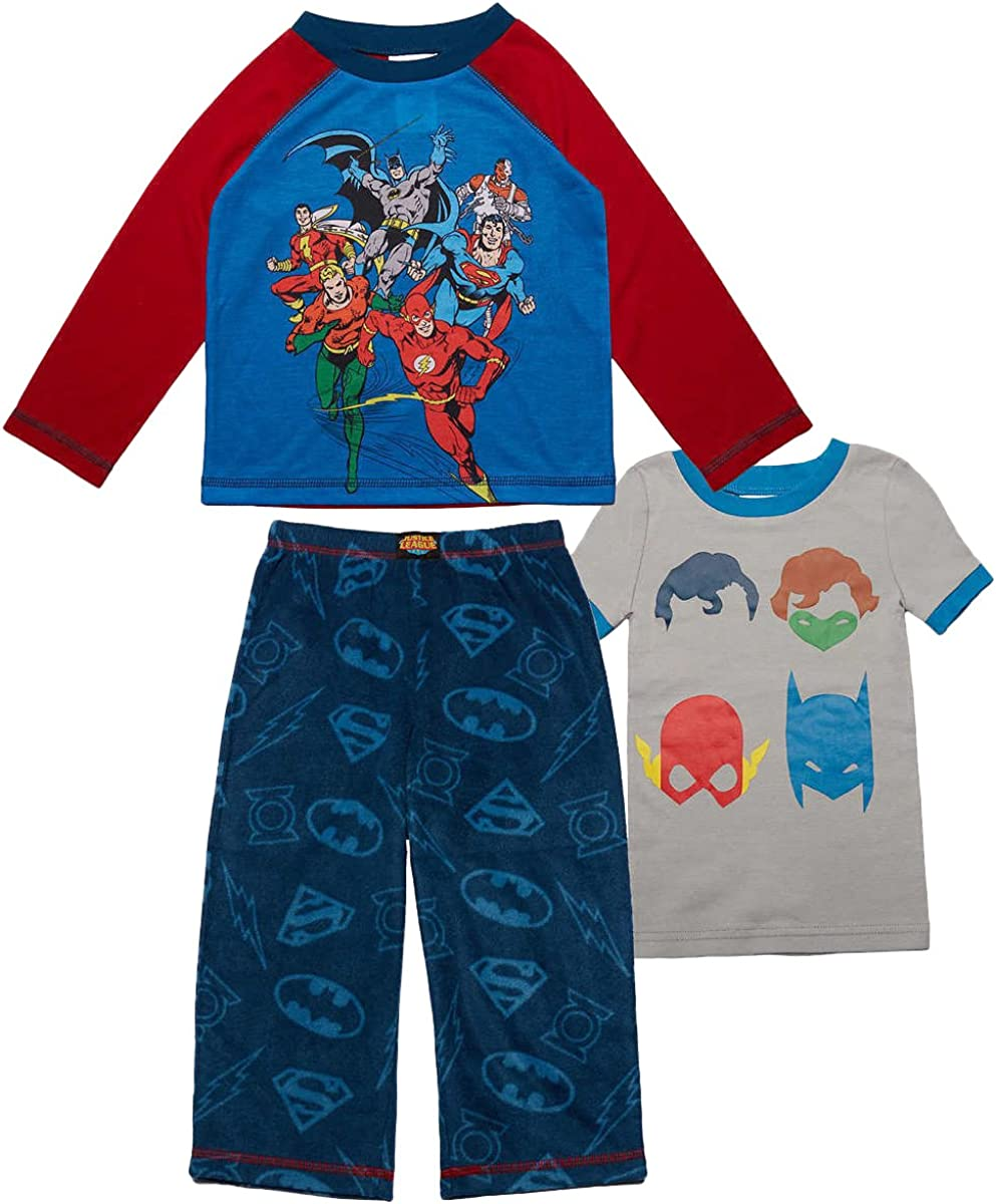 Blue//Red 7 Komar Kids Justice League Characters Boys 3-Piece Pajama Set