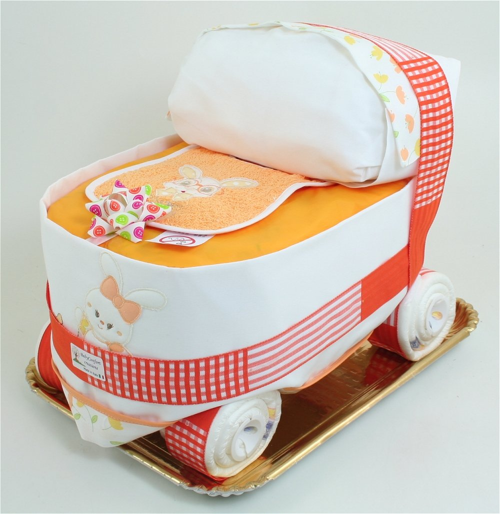 Windeltorte Windelwagen Orange Babyshower - Kinderwagen