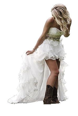 Western Wedding Dress | Mjbridal High Low Sweetheart Country Western Wedding Dress Beaded