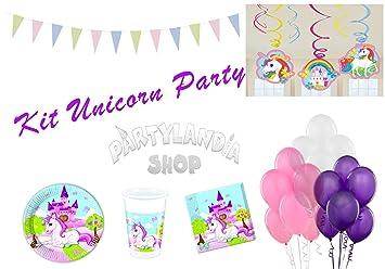 Partylandia Kit de Fiesta de cumpleaños Unicornio para 16 ...
