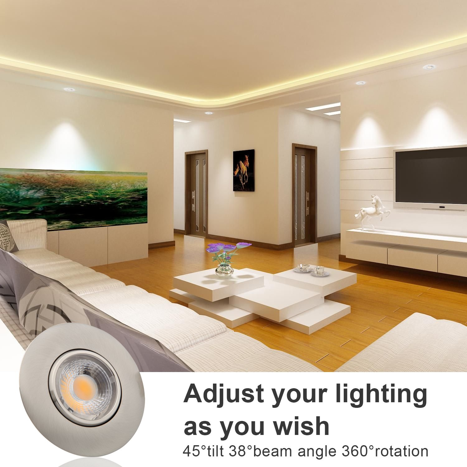 Led Recessed Light 3 Inch 8W 700 Lumens IC Rated Gimbal Adjustable Recessed LED Downlight Energy Star ETL Approved 1Pack 5000K Daylight White, Brushed Nickel
