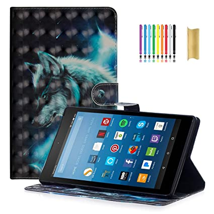 Fire 7 Case (7th Generation, 2017), Dteck 3D Flip Folio Cute Smart Stand  Case with [Stylus Pen] Protective PU Leather Wallet Cover for Amazon Kindle